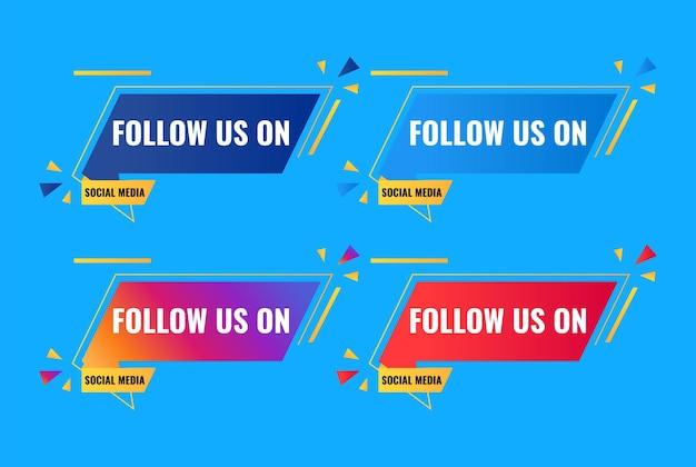 Seguici sul design di saluto banner celebrazione dei social media