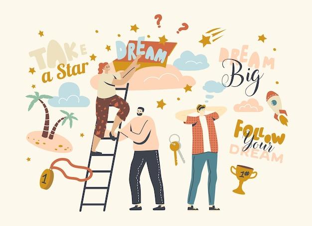 Segui il concetto dei tuoi sogni con i personaggi che salgono la scala fino alle nuvole, immagina il successo e la ricchezza. le persone osano prendere la stella dal cielo, l'aspirazione e la motivazione. illustrazione vettoriale lineare