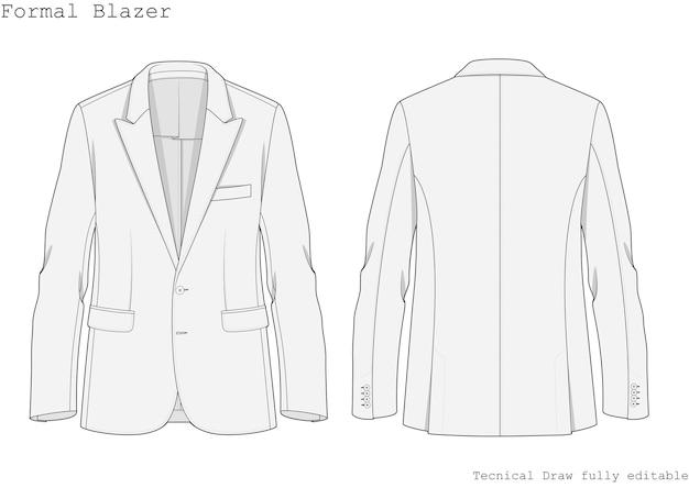 Fomal blazer technical hand draw