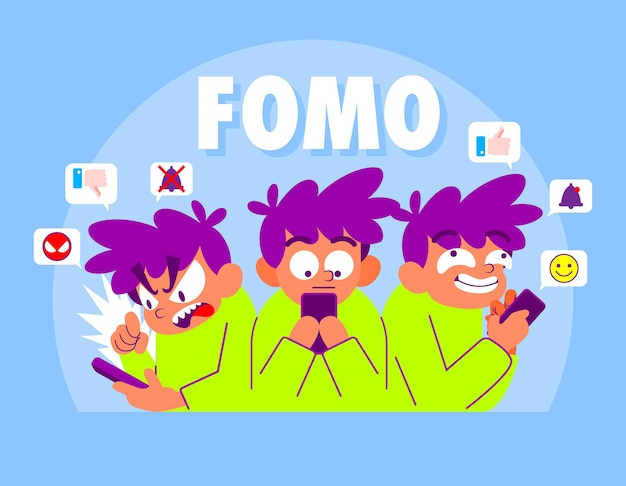 Fomo cartoon illustrazione, paura di perdere