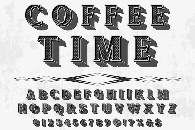 Alfabeto dei caratteri script carattere tipografico fatto a mano scritto a mano denominato tempo del caffè vintage