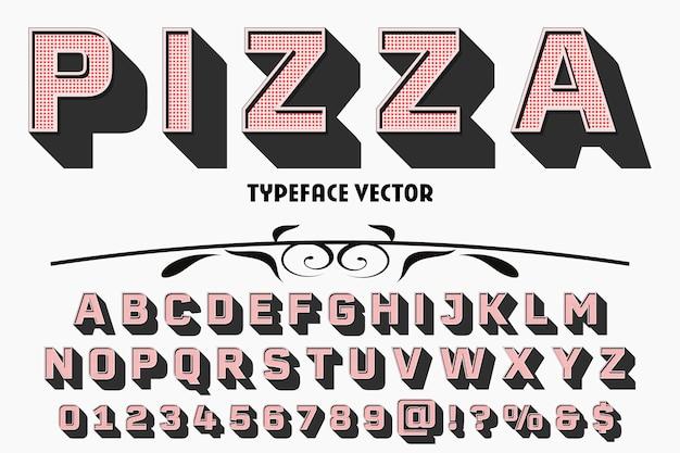 Alfabeto dei caratteri script carattere tipografico scritto a mano con nome vintage pizza