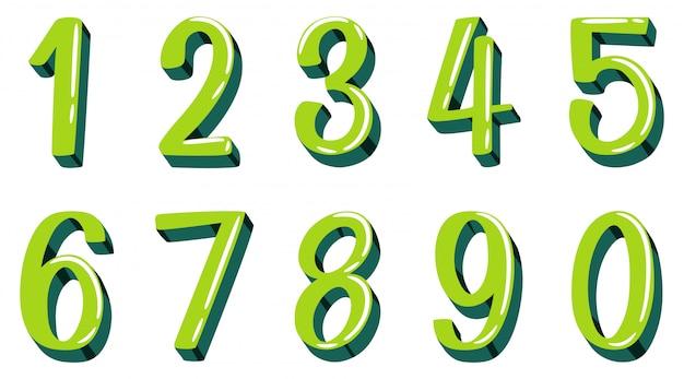 Design dei caratteri per il numero uno a zero su sfondo bianco
