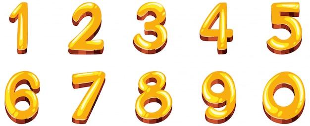 Design dei caratteri per i numeri da uno a zero su sfondo bianco