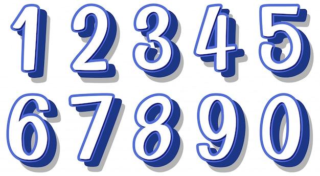 Design dei caratteri per i numeri da uno a zero
