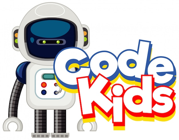 Modello di disegno di carattere per bambini di codice di parola con piccolo robot