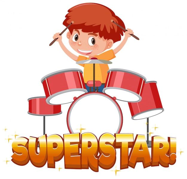 Modello di disegno di carattere per superstar di parola con ragazzo suonare la batteria
