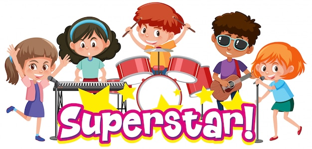 Modello di progettazione del carattere per superstar di parola con i bambini che giocano nella banda