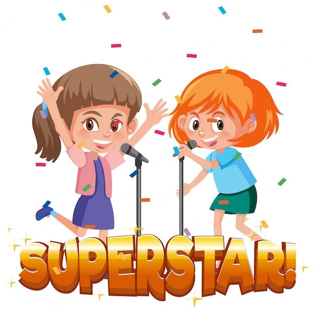 Modello di disegno di carattere per superstar di parola con due ragazze che cantano