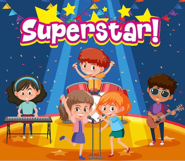 Design dei caratteri per la parola superstar con bambini sul palco
