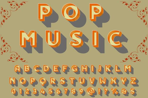 Carattere tipografico artigianale denominato musica pop