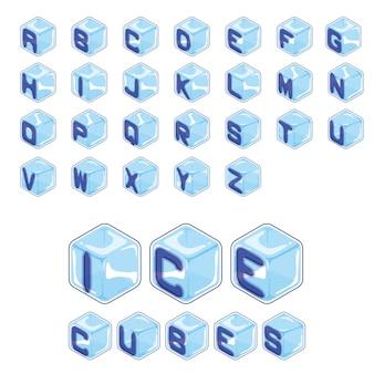 Stile dei cubetti di ghiaccio della fonte su fondo bianco