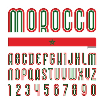 Carattere marocco. alfabeto luminoso alla moda, lettere colorate su sfondo bianco.