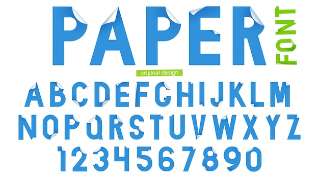 Fonte tipografica nello stile di arte di carta su fondo bianco. typeset