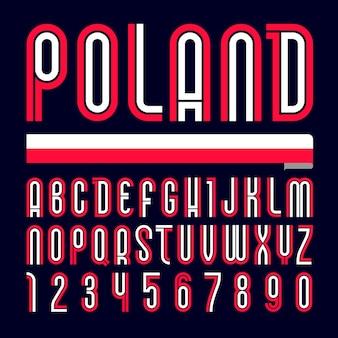 Carattere polonia. alfabeto luminoso alla moda, lettere colorate su sfondo nero.