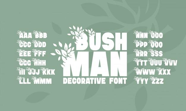 Set di caratteri con decorazione di foglie