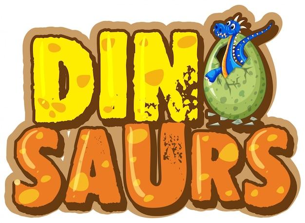 Font per la parola dinosauro con dinosauro in uovo
