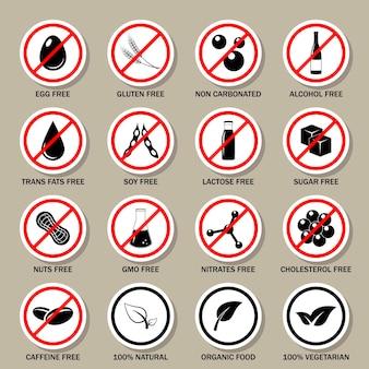 Set di simboli di allergeni alimentari