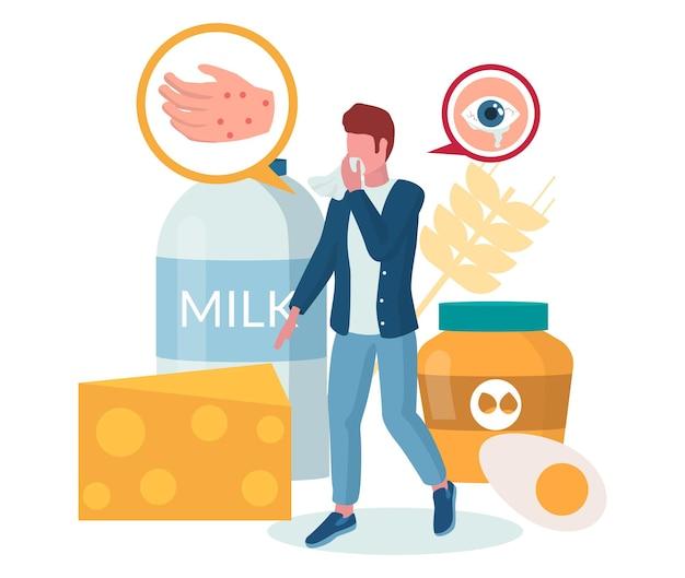 Allergia al cibo. uomo che soffre di alveari, eruzione cutanea rossa pruriginosa o eczema, occhi acquosi, illustrazione vettoriale. reazione allergica a latte, formaggio, uova, noci. intolleranza al lattosio.