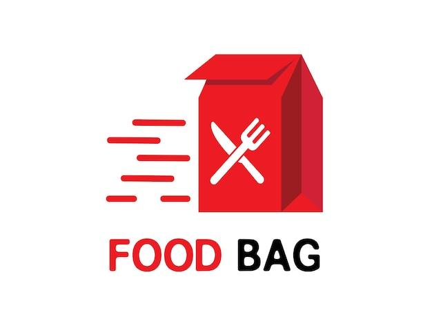 Logo del servizio del ristorante di consegna del cibo del sacchetto del cibo