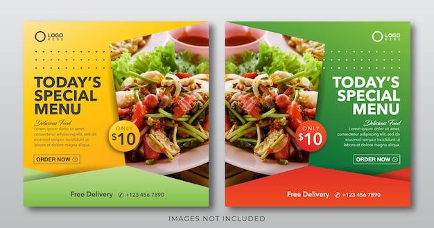 Banner alimentare per modello di post sui social media