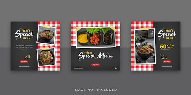 Modello di post sui social media per banner alimentari
