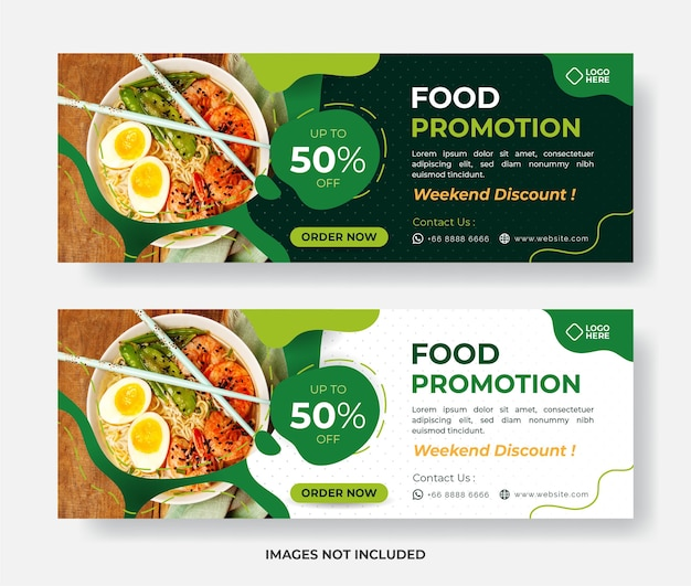 Modello di banner di cibo, modello di banner di ristorante, banner di cibo di promozione