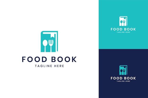 Design del logo dello spazio negativo del libro di cibo