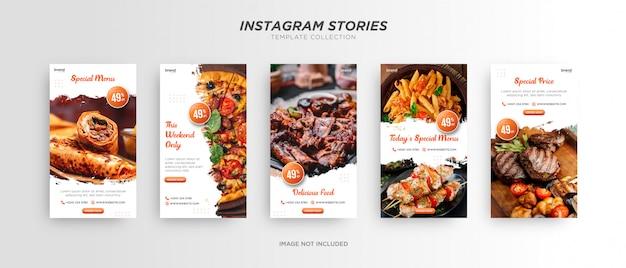 Modello minimalista di storia di instagram di social media di cibo pennello