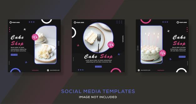 Modello di post di storie di banner culinario per torte alimentari per vettore premium di moda