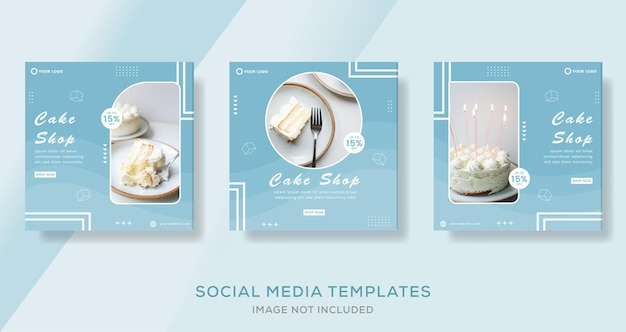 Banner del menu della torta alimentare per il modello di social media post premium