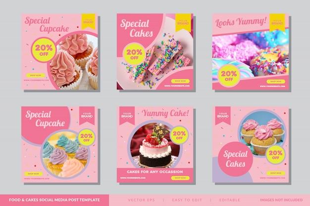 Modello di post social media cibo e torta