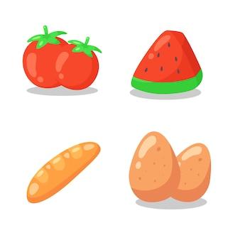 Collezioni di icone piane del fumetto di cibo.