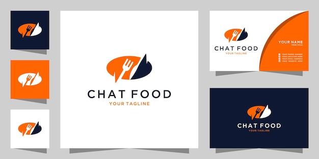 Ispirazione al logo della chat alimentare, ordini di cibo e biglietti da visita