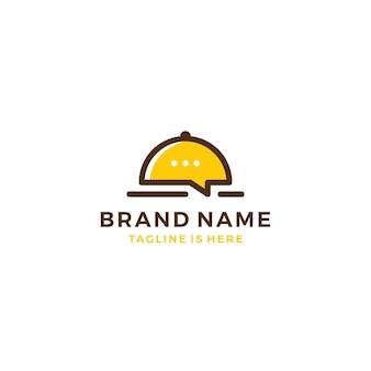 Cibo chat parlare bolla ristorante social media logo modello vettoriale icona illustrazione