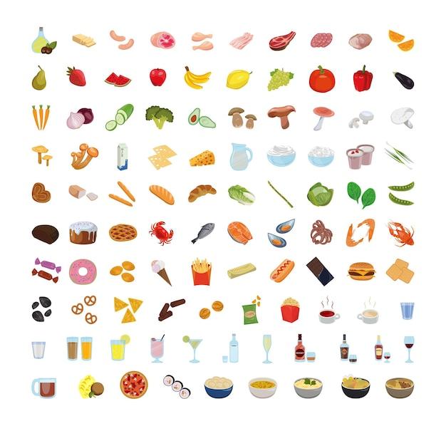 Raccolta di cibo. frutti di mare, prodotti da forno, verdure, frutta, prelibatezze di carne.