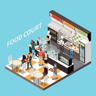 Food court bar caffetteria vista isometrica dessert display banco cassa cassiere personale clienti