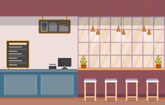 Illustrazione vuota del cassiere del ristorante interno interno della corte di cibo