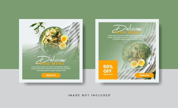 Banner culinario di cibo per modello di post sui social media