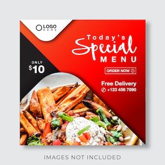 Banner di menu culinario alimentare per social media e modello di post instagram