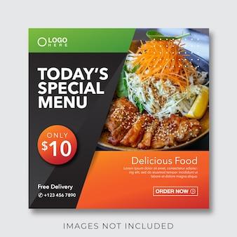 Banner di menu culinario di cibo per modello di post sui social media