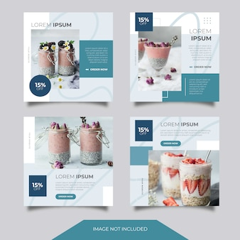 Food culinary social media instagram facebook ads banner post template collection set con stile minimalista e pulito. sconto. vendita. promozione. alimentazione. disposizione. design. blu.