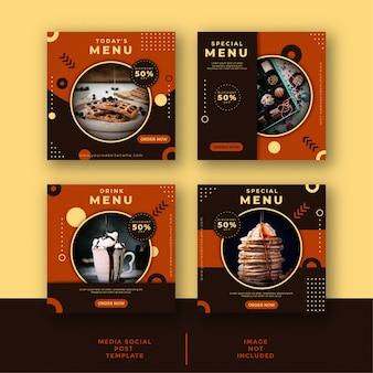 Modello di promozione post sui social media alimentari e culinari