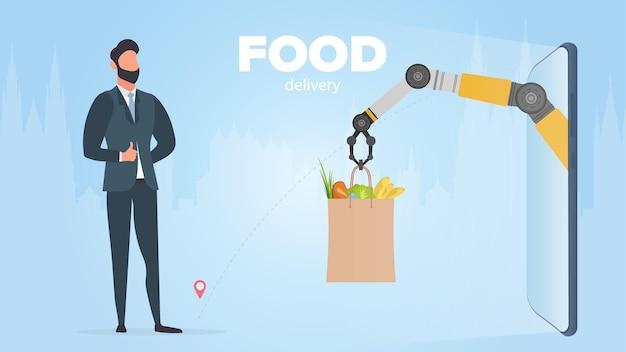 Banner di consegna cibo. la mano robotica tiene un sacchetto di carta con prodotti. un uomo riceve il suo ordine online. concetto di consegna dello shopping. vettore.