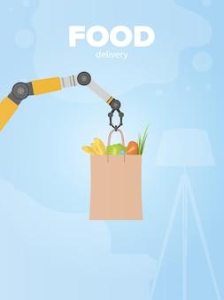 Banner di consegna cibo. la mano robotica tiene un sacchetto di carta con prodotti. concetto di consegna dello shopping. vettore.
