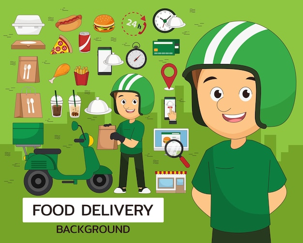 Priorità bassa di concetto di consegna del cibo. icone piatte.