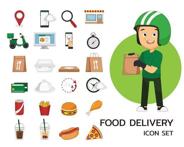 Icona piana di concetto di consegna cibo. Vettore Premium