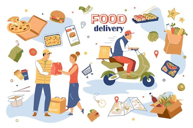 Insieme di elementi isolati del concetto di consegna del cibo