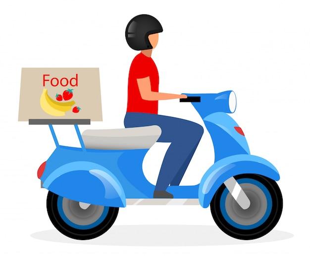 Illustrazione piana di vettore del corriere di consegna dell'alimento. fattorino che guida il personaggio dei cartoni animati del motorino isolato