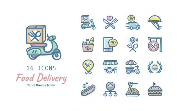 Collezione di icone di doodle di consegna cibo